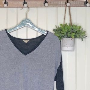 Madewell Anthem V-neck Blue Colorblock Small Tee